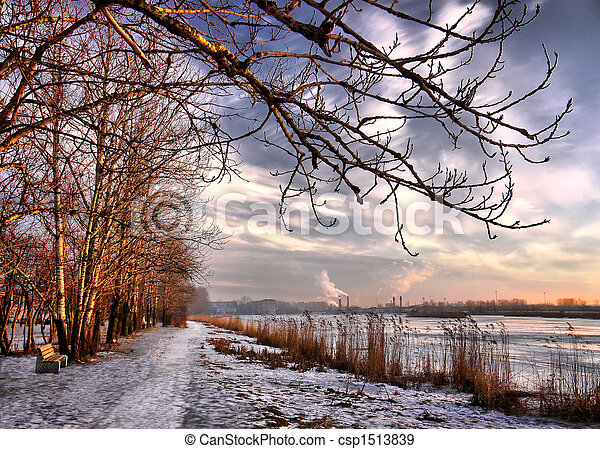 sunset in the end of winter, city lake - csp1513839
