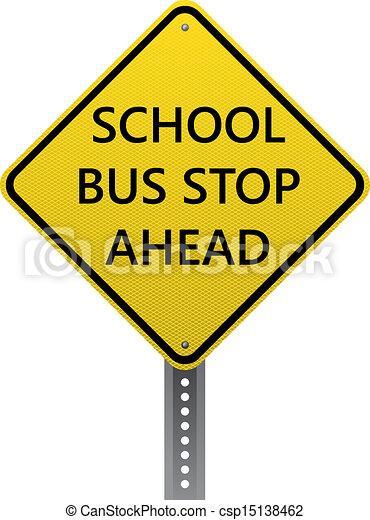 Clip Art Vector of School bus stop ahead sign - School bus ...