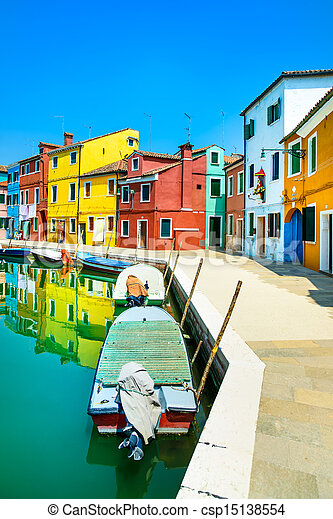 Venice landmark, Burano island canal, colorful houses and boats, Italy - csp15138554