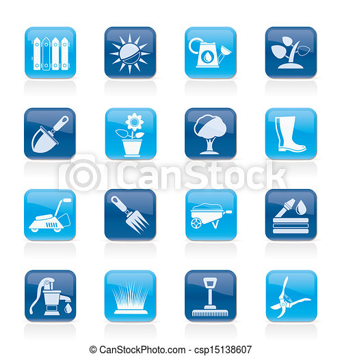 Gardening tools and objects icons - csp15138607