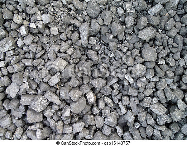 Cluster of pieces Coal used to power an old fashion train - csp15140757
