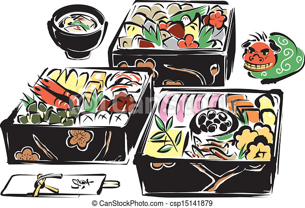 Vectors Illustration of Japanese foods for the New Year's ...