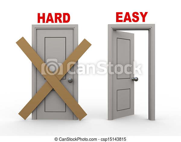 Open closed door clipart - Clipart Of 3d Hard And Easy Doors 3d Illustration Of