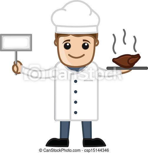 Eps vector de cocinero comida dibujo arte caricatura for Herramientas de un cocinero