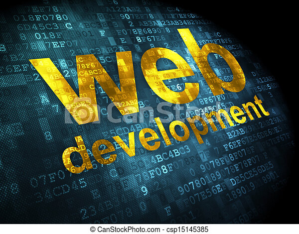 SEO web design concept: Web Development on digital background - csp15145385