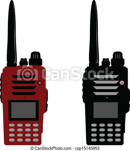 Walkie talkie or police radio and radio communication - csp15145953