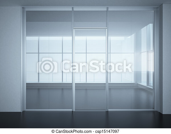 Stock Illustration Of Empty Office Room With Glass Walls