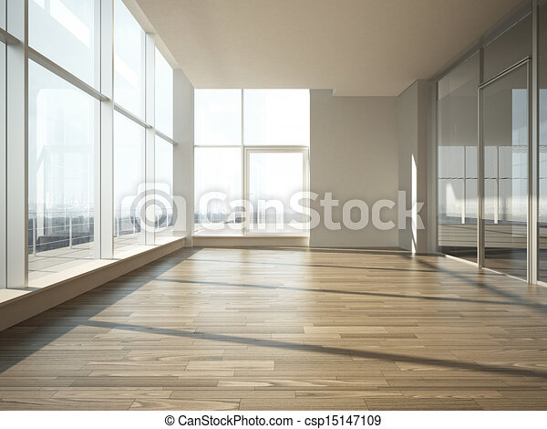 office interior with glass wall - csp15147109