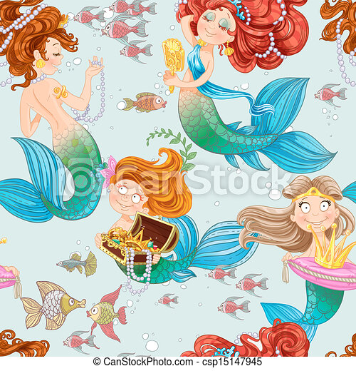 Seamless pattern from mermaid girls with treasures - csp15147945