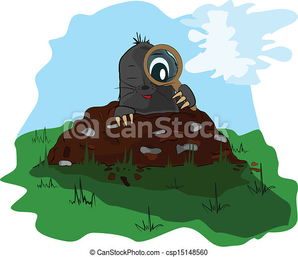 Clip Art Vector of Mole with a magnifying glass on mol - A small ...