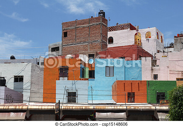 beautiful colorful mexican architecture - csp15148606
