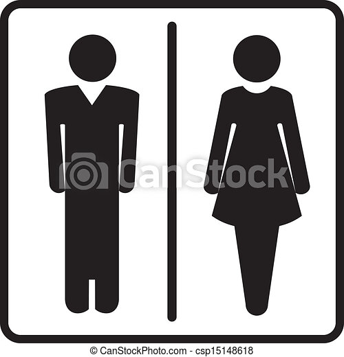 Vector Clip Art of Restroom symbols - Man and woman signs for ...