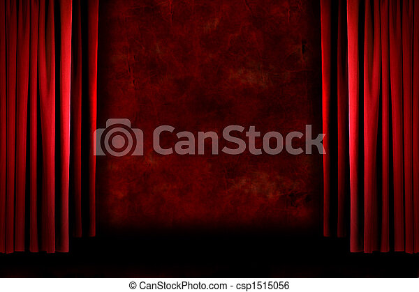 Red old fashioned grungy stage drapes - csp1515056