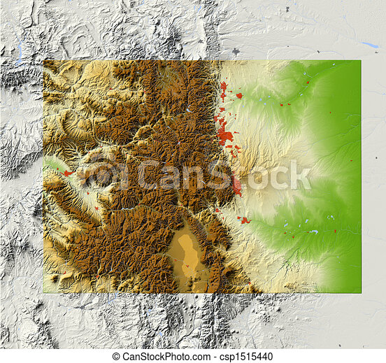 Illustration of colorado shaded relief map colorado shaded relief