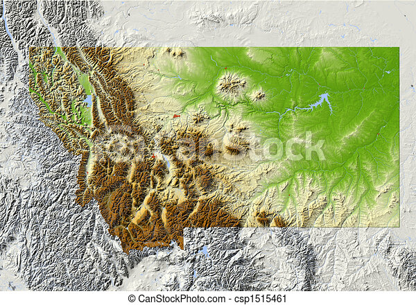 Montana, shaded relief map - csp1515461