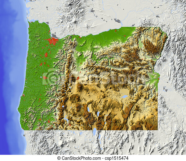 Elevation Map Oregon Oregon Shaded Relief Map