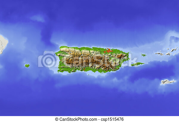 Puerto Rico, shaded relief map - csp1515476