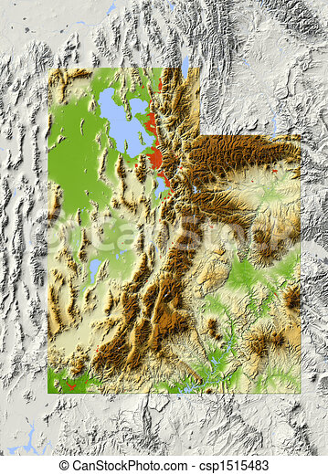 Utah, shaded relief map - csp1515483