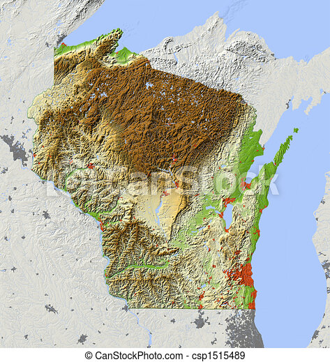 Wisconsin, shaded relief map - csp1515489
