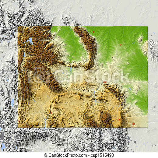 Illustration of wyoming shaded relief map wyoming shaded relief
