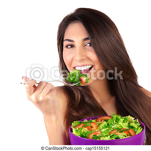 Beautiful woman eating salad - csp15155121