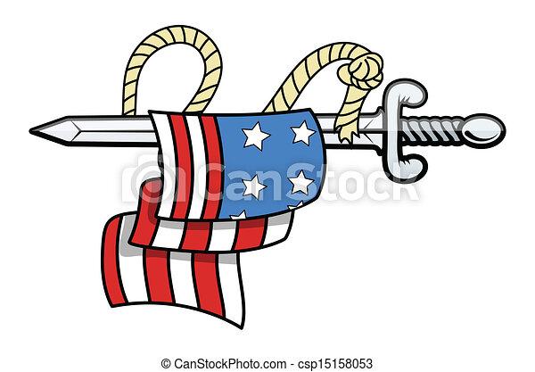 USA Flag on Sword - Vector - csp15158053