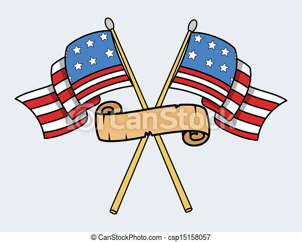 Happy 4th of July - USA Flags - csp15158057