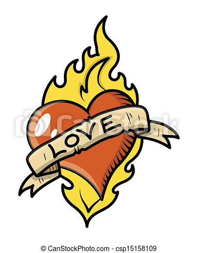 Clipart Vecteur de retro, Amour, tatouage, coeur, flamme - dessin, art ...
