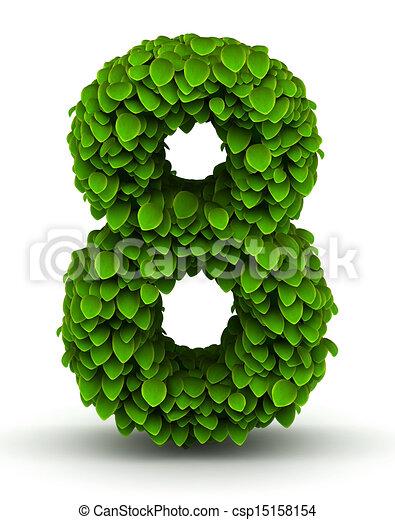Stock Illustrations of Number 8, green leaves font - Number 8 green ...