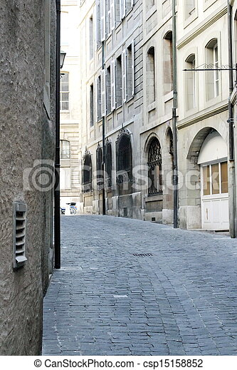 Street in old city, Geneva, Switzerland - csp15158852