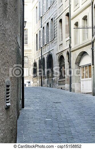 Street in old city, Geneva, Switzerland - csp15158852