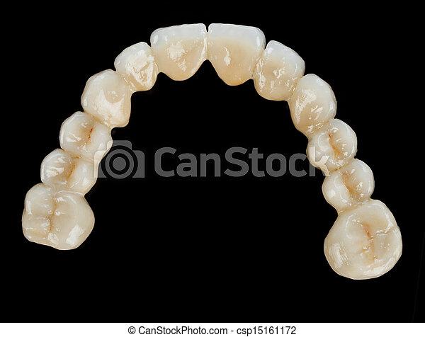 Porcelain teeth - dental bridge - csp15161172