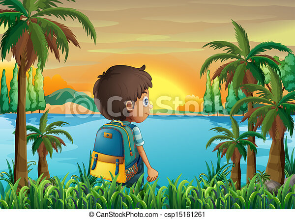 A boy with a bag watching the sunset - csp15161261