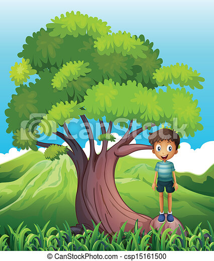 Vector Clipart Of A Boy Standing On A Root Of A Tree