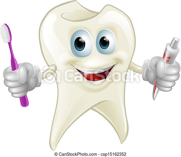 Tooth man holding paste and brush - csp15162352