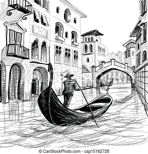 Gondola in Venice vector sketch - csp15162728