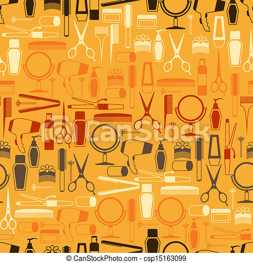 Hairdressing tools seamless pattern in retro style. - csp15163099