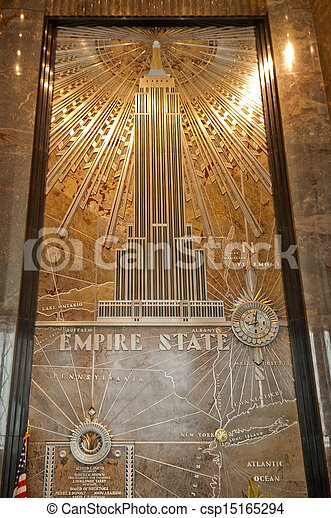 Stock photographs of empire state building lobby mural for Empire state building mural