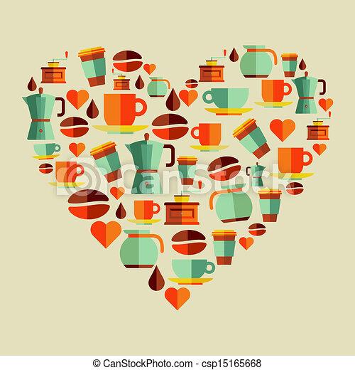 Coffee love beans illustration - csp15165668
