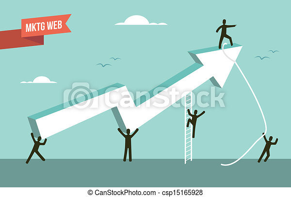 Marketing web strategy chart arrow illustration - csp15165928