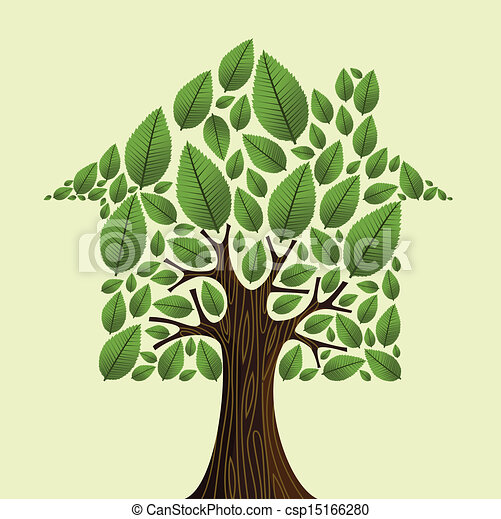 Vector of Real estate green tree house concept. - Real ...