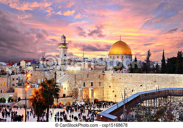Jerusalem Old City at Temple Mount - csp15168678