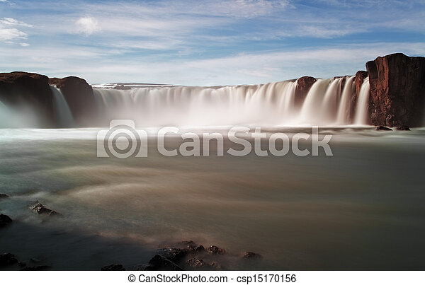 Godafoss waterfalls with mountain in Iceland - csp15170156