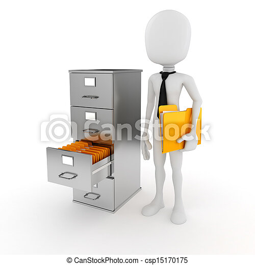 3d man business man and file cabinet - csp15170175