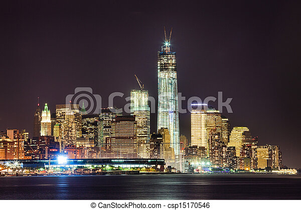 New York City Downtown w the Freedom tower - csp15170546
