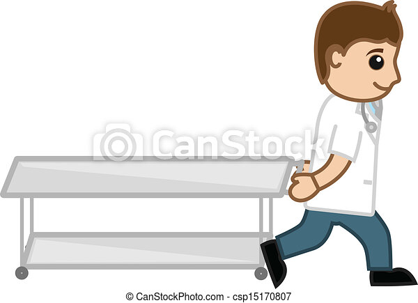Vector Clipart of Doctor Pulling Stretcher Vector ...