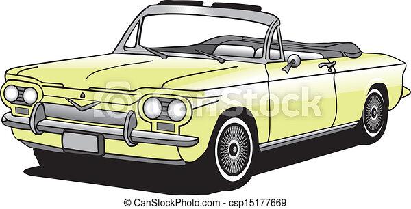 Clip Art Vector of Classic Car Convertible Vector - Antique ...