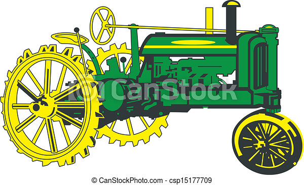 Antique Green Tractor - csp15177709