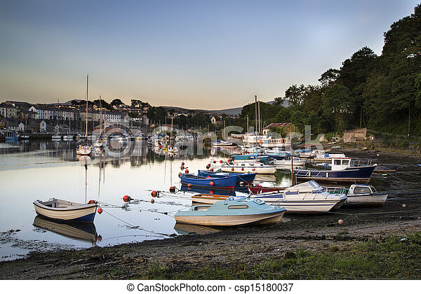 Fishing village harbour tide sunset landscape - csp15180037