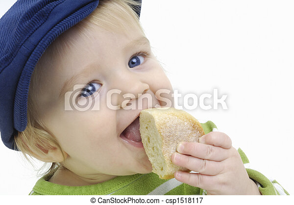 Boy and baguette - csp1518117